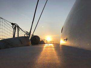 Deck bei Sonnenuntergang